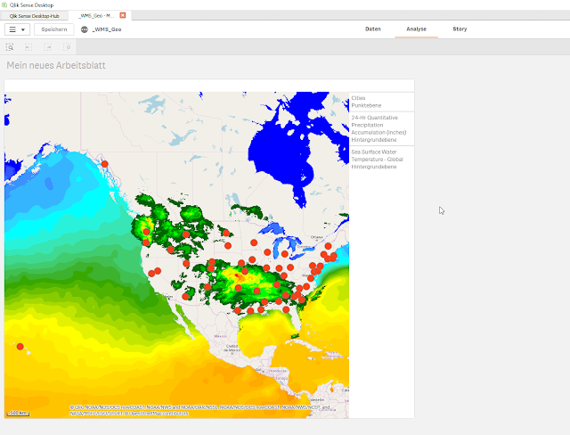 WMS WassertemperaturNiederschlagsmengen kombiniert mit einem Qlik Sense Punktlayer
