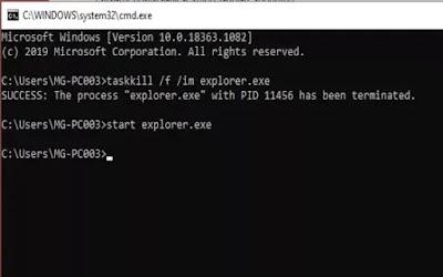 Memperbaiki file explorer melalui cmd