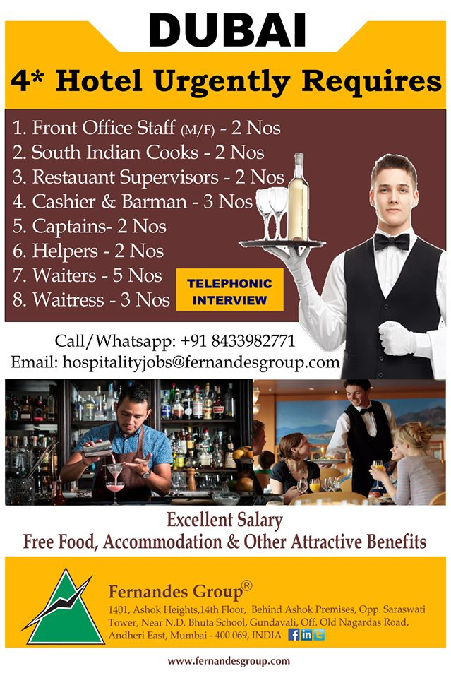 Dubai four Star Hotel Urgently Requires