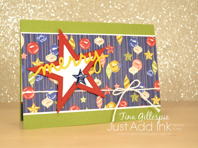 scissorspapercard, Stampin' Up!, Just Add ink, Night Before Christmas DSP, Stitched Stars Dies, Christmas Greetings Thinlits, Subtle Embossing Folder, Shimmery Crystal Effects
