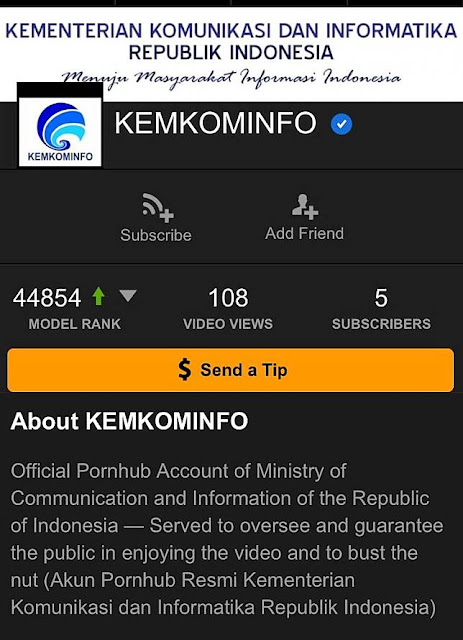 Kominfo bantah punya akun di situs Pornhub