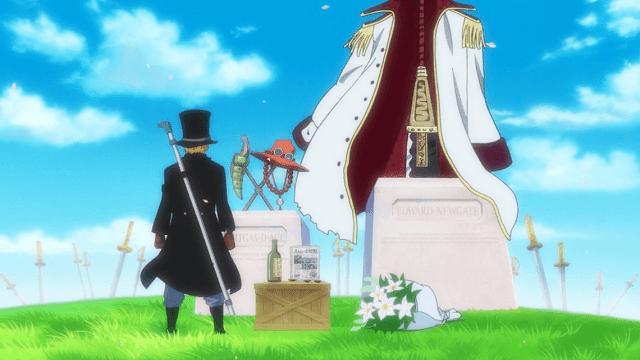 sabo pertama kali muncul di makam ace dan shirohige