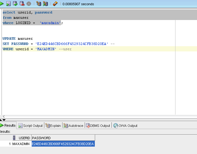 Reset Maximo User Password using SQL | IBM Maximo | IBM Maximo