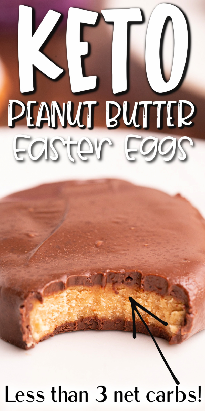 Keto Peanut Butter Chocolate Easter Eggs - This Keto Peanut Butter Chocolate Easter Eggs recipe is the perfect low carb and gluten-free Easter treat. Sweet creamy peanut butter on the inside with that delicious chocolate coating, who needs Reeses when you have these? #keto #lowcarb #glutenfree #sugarfree #resses #peanutbutter #chocolate #easter #eggs #recipe