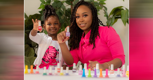 Jasmine Phinex, founder of Serenity Nail Polish, with her daughter