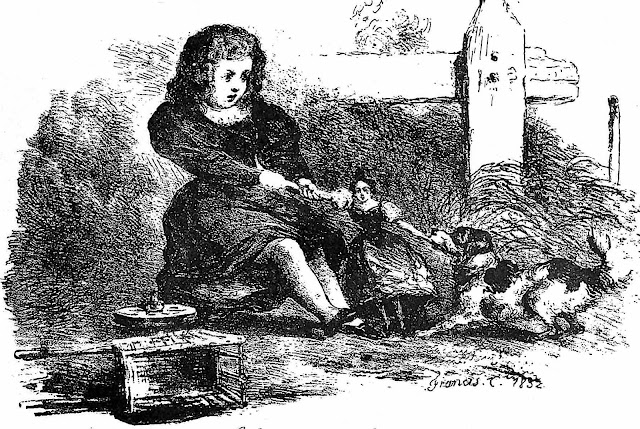an 1832 illustration of a dog fighting a girl for a doll