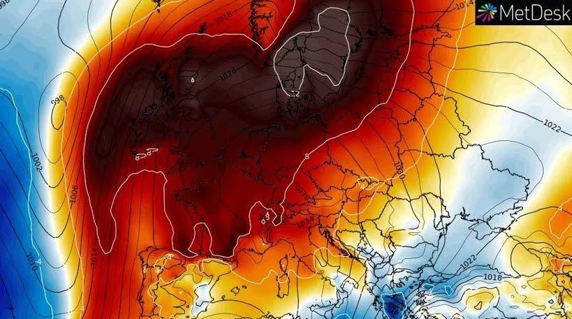 Potente anomalia climatica in Europa.