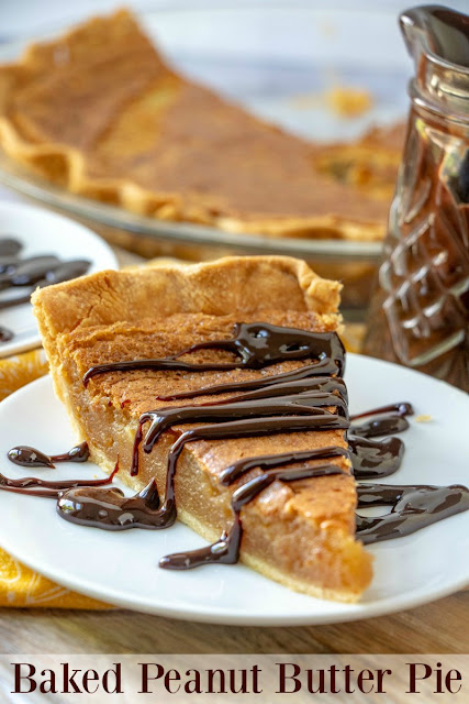 This peanut butter pie is baked to perfection. It is gooey, peanut buttery and delicious. It is especially good with a drizzle of hot fudge!