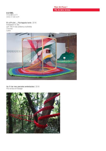 art textile contemporain, installations aux fils de laine tendus