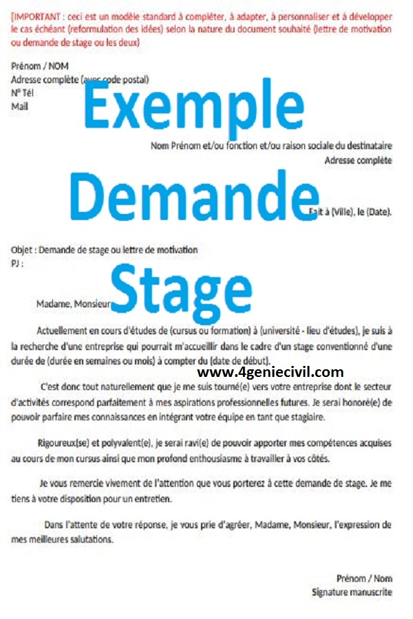 Télécharger Exemple Demande Stage Pdf Et Word Exemple De