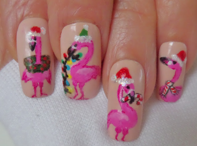 flamingo nail designs closeup