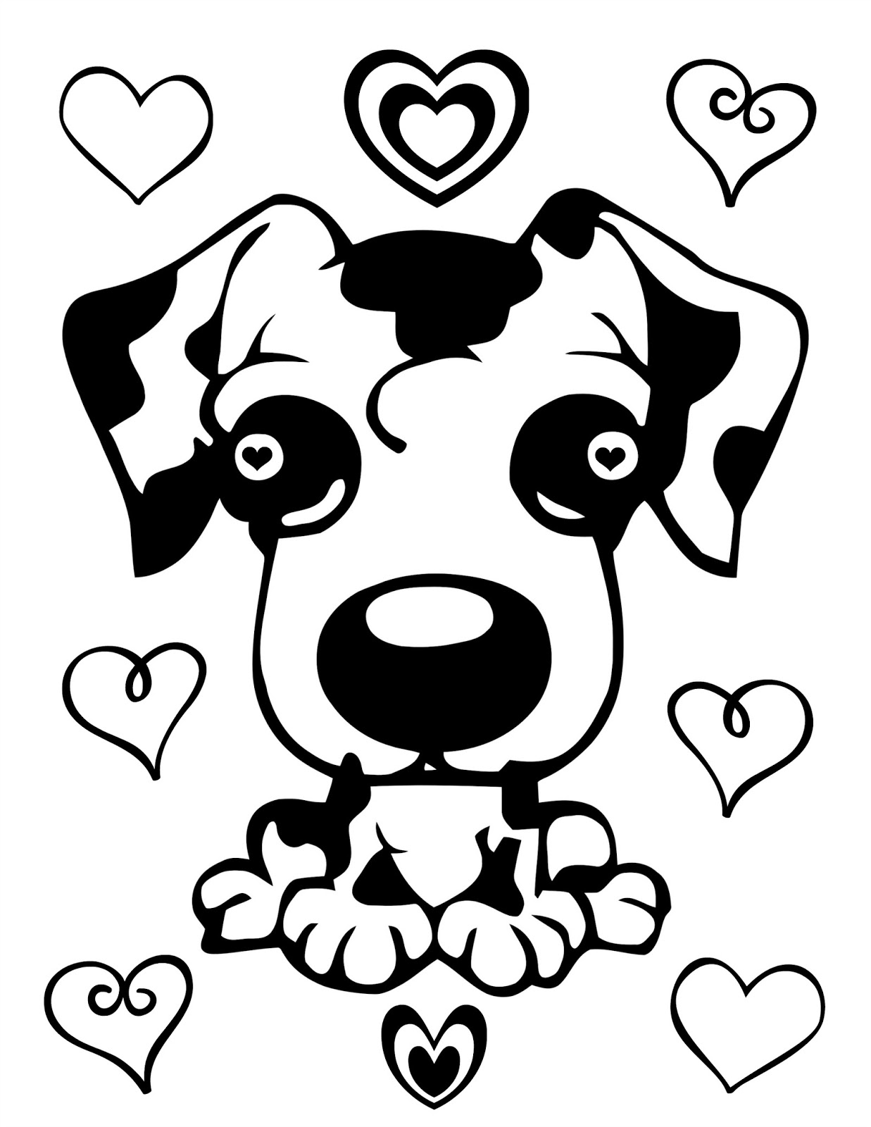 Cjo Photo Valentine S Day Coloring Page Cute Puppy And Hearts