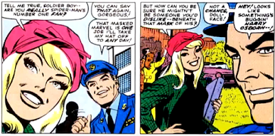 Amazing Spider-Man #53, john romita, gwen stacy and flash thompson talk about spider-man