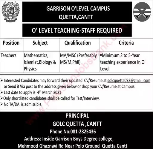 Latest Jobs in Pakistan in Garrison O-Level Campus Quetta Cantt Jobs 2021
