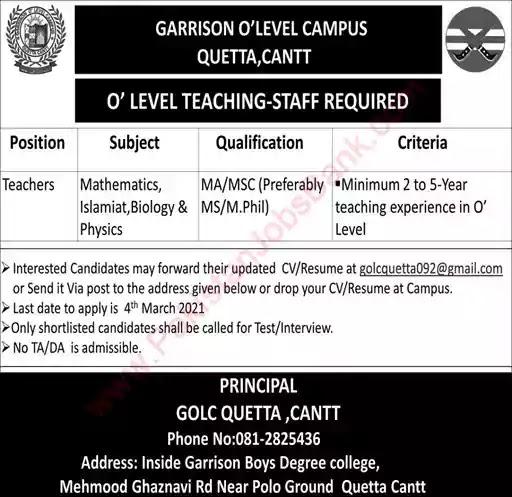 Latest Jobs in Pakistan in Garrison O-Level Campus Quetta Cantt Jobs 2021