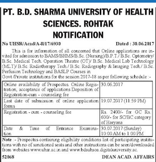 PGIMS BSC BAMS Admission notice