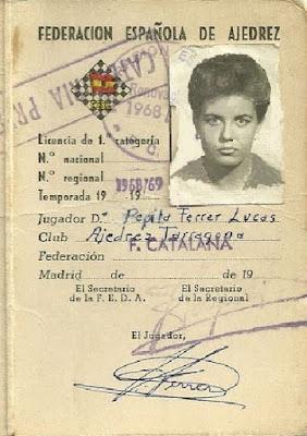 Ficha de la federación de ajedrez de Pepita Ferrer de 1968