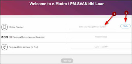 SBI E-Mudra Loan Application