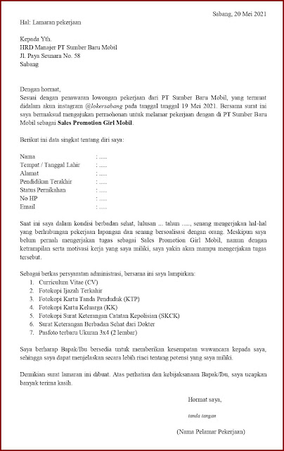 Contoh Application Letter Untuk Sales Promotion Girl Mobil (Fresh Graduate) Berdasarkan Informasi Dari Media Sosial