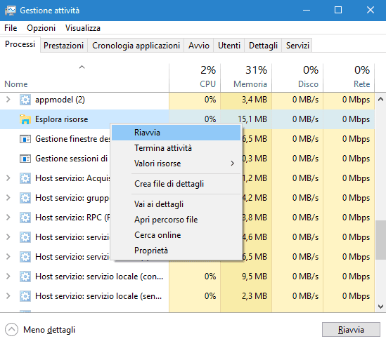 Task Manager Windows 10 riavviare Esplora risorse