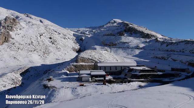 Χιονοδρομικό Κέντρο Παρνασσού - Λιβάδι - Αράχωβα: Ο ιστορικός πρώτος χιονιάς χωρίς επισκέπτες (βίντεο drone)
