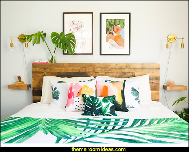tropical vibe   Tropical beach style bedroom decorating ideas - beach bedrooms - surfer theme rooms - tropical theme Hawaiian style decorating - raffia valance window ideas - tropical bedding - tropical wall murals - palm trees decor - tropical bedroom decorating ideas - tropical furniture - tropical baby nursery decorating