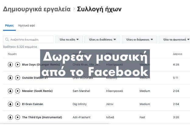 To Facebook προσφέρει πάνω από 8000 τραγούδια χωρίς πνευματικά δικαιώματα