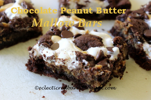 Chocolate Peanut Butter Mallow Bars @Eclectic Red Barn