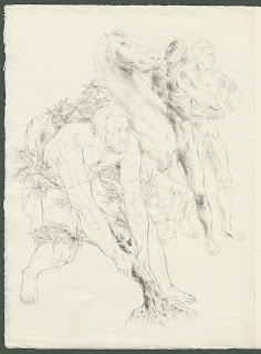 An illustration of a nude man pulling at the base of a small tree. In the background two man handle a horse.