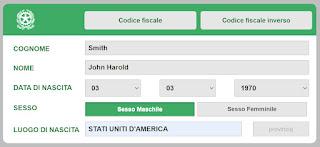 """""""John Harold Smith"""" Codice Fiscale example"""