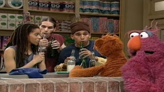 Baby Bear and Stomp patrons make music with the bottles. Telly still prefers his tuba. Sesame Street Let's Make Music