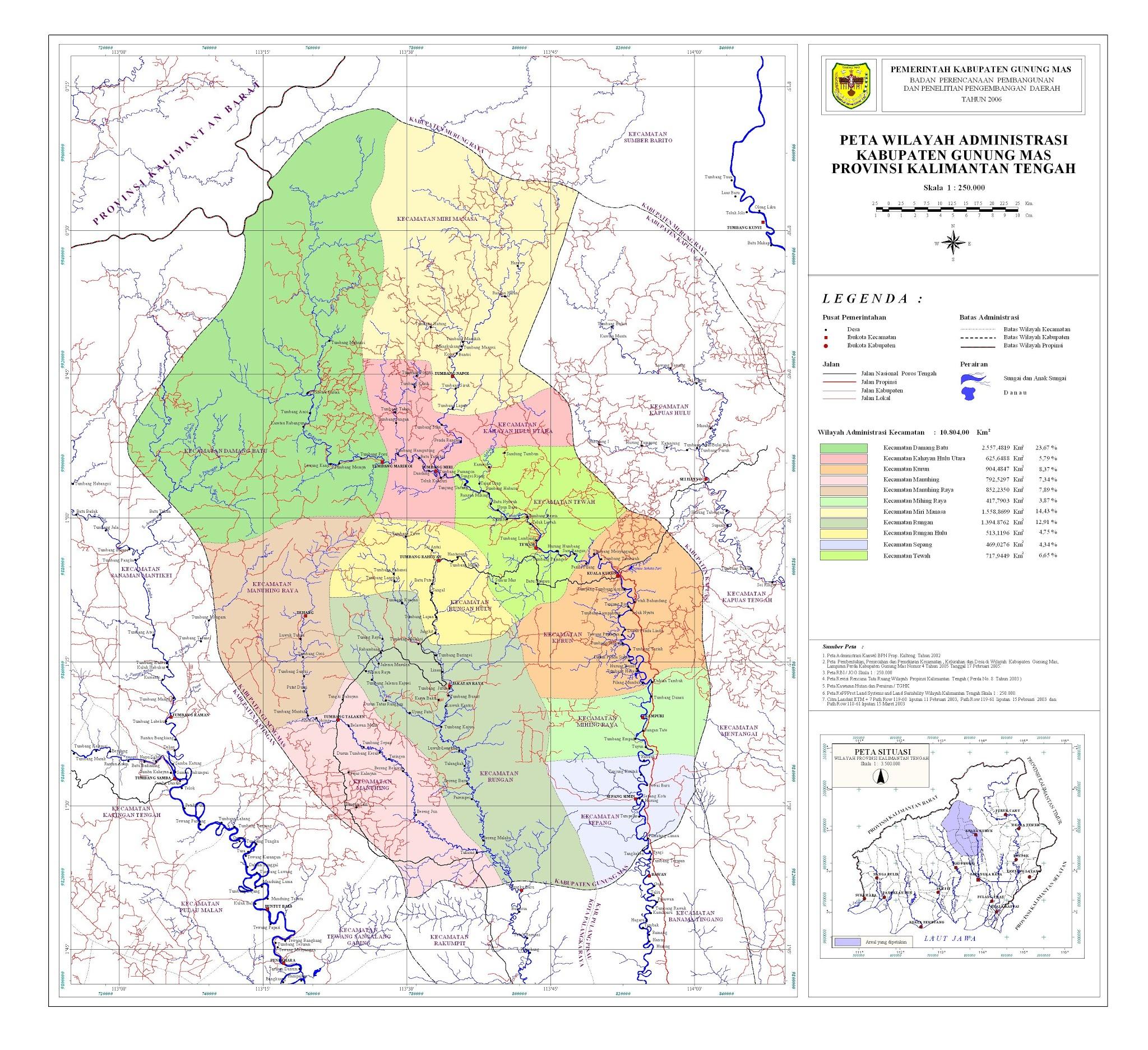 Peta Kota: Peta Kabupaten Gunung Mas