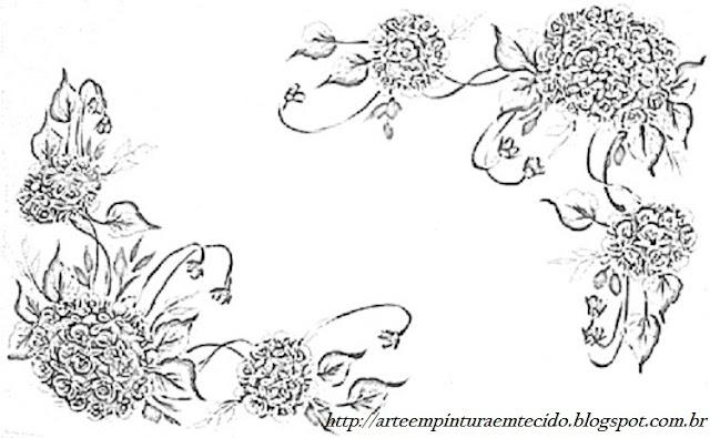 pintura em tecido flores risco violetas