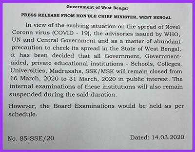 Suspension of classes till 31st macrh  due to corona virus in West Bengal