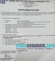 Loker Surabaya Terbaru di PT. Bank Rakyat Indonesia (Persero) Tbk Oktober 2019