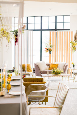 yellow and grey wedding reception