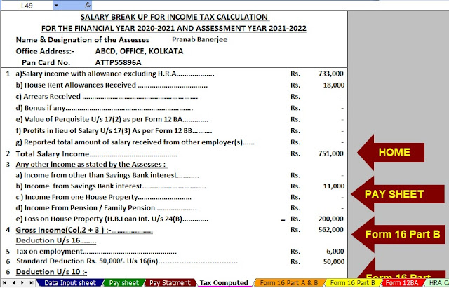 Income Tax Calculator for A.Y.2021-22