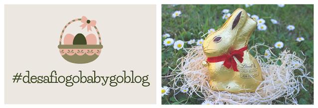banner de promoção do desafio da páscoa, com elemento gráfico de um lado e uma fotografia de um coelho da Páscoa de chocolate do outro