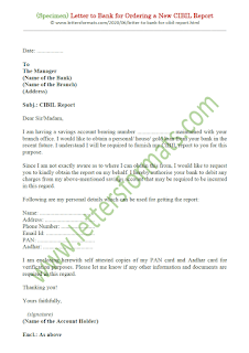 letter to bank for cibil report