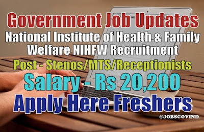NIHFW Recruitment 2021