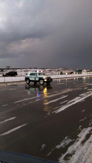 Salju Turun di Pertengahan Highway antara Makkah & Madinah