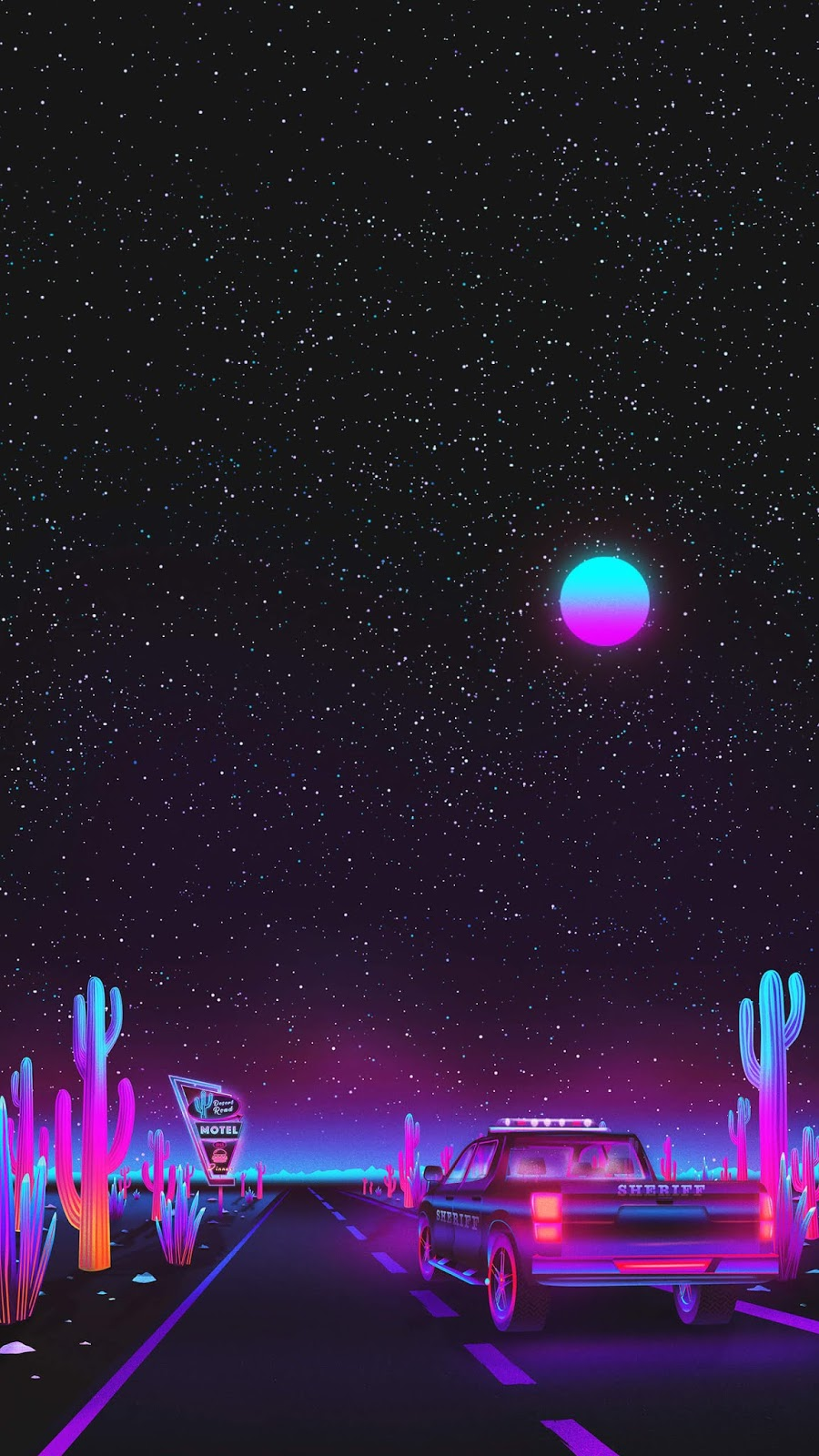 Vaporwave night sky