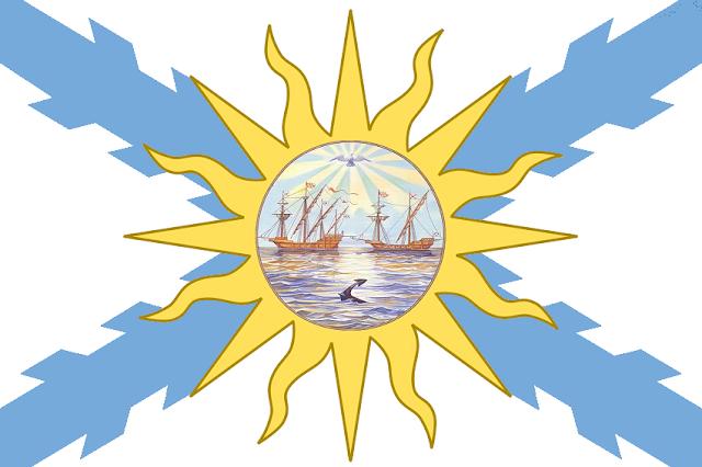 Bandera del Estado Rioplatense diseñada por Cabeleira Santoro