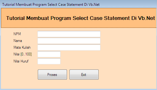 Fungsi Select Case Statement Di Vb.Net – Pembuatan program di Vb.Net tidak lepas dari beberapa Fungsi yang memang selalu menjadi suatu kebutuhan untuk menentukan nilai suatu variabel dengan bantuan logika select case statement.  Tujuan pemakaian select case statement pada dasarnya adalah sama dengan fungsi If – Else – Then. Tetapi pemakaian select case statement lebih mempersingkat penulisan koding menentukan nilai variabel dalam suatu kondisi.  Bagi kamu yang masih awam mendengar fungsi select case statement di Vb.Net maka tidak perlu pusing untuk menggunakan fungsi select case statement ini di program yang sedang kamu bangun di Vb. Net  karna pada artikel kali ini kami berbagi informasi tentang tutorial membuat program select case statement di Vb.Net secara detail, silahkan dibaca hingga tuntas.  Apa Itu Select Case Statement Di Vb.Net ? Select Case Statement adalah salah satu cara yang dapat digunakan untuk memeriksa kesesuaian atau menguji nilai yang terdapat di dalam variabel ketika harus dilakukan penyesuaian pernyataan kondisi dari suatu variabel menggunakan fungsi case.  Menentukan pernyataan nilai kondisi dari setiap arlternatif variabel pada program yang dibangun di Vb.Net mengggunakan Select Case Statement dapat dilakukan untuk banyak percabangan dengan mudah.  Syntax Pembuatan Select Case Statement Di Vb.Net