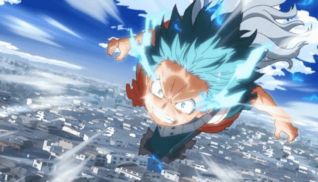Izuku Midoriya from My Hero Academia flying in the sky showing his quirk