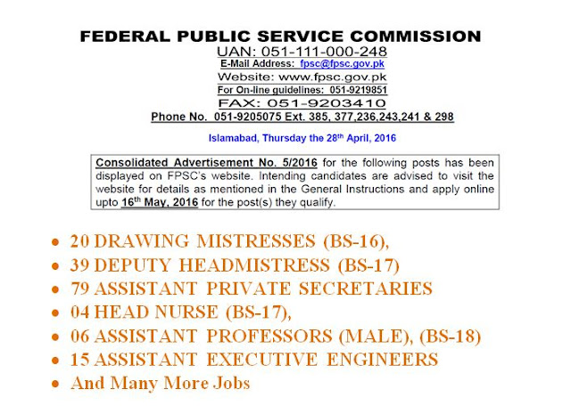 FPSC Consolidated advertisement for Different Jobs