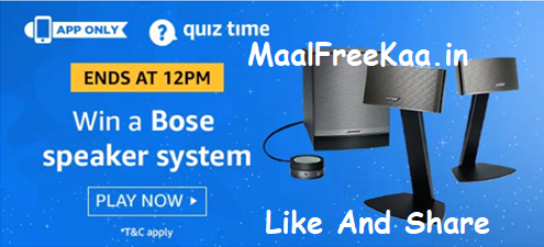Amazon Quiz Time Today Answer Win Exciting Prize Daily