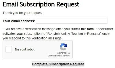 Veți primi regulat noutăți despre blogul România online - Tourism in Romania.