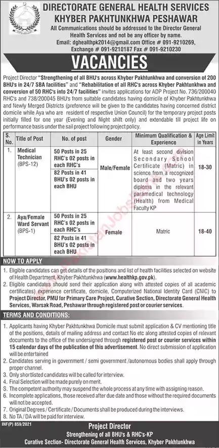 Latest Jobs in Pakistan in Health Department Kpk Jobs 2021