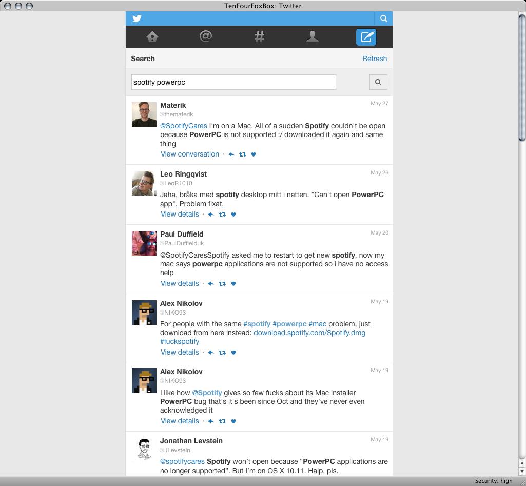 PPC Luddite: Twitter Mobile on TenFourFox